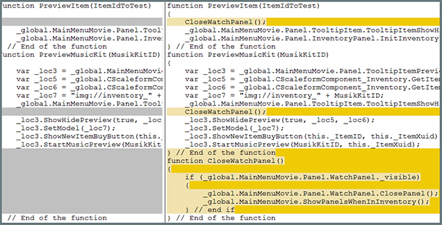 Image of the action-script modifications.